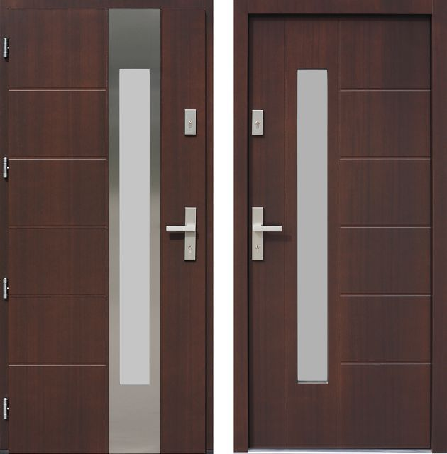 Drzwi wejściowe z aplikacjamii ze stali nierdzewnej inox wzór 475,7-475,17 orzech