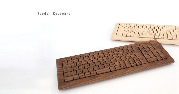 """I discovered the design store, Hacoa in central Tokyo when on holidays. They started in 2001 and make a range of wood products which typify elegant clean Japanese design of everyday items. This keyboard and mouse is part of their office accessories made from wood - iPhone caes, USB rings etc. Like any good piece designed well, it makes you question the accepted form. Why does """"technology"""" have to say """"metal or plastic"""" anyway?"""