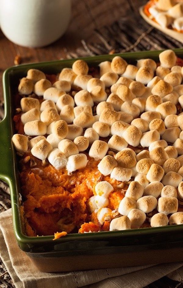 Marshmallow Yams - Homemade Sweet Potato Casserole for Thanksgiving Dinner. Made with brown sugar cinnamon, ground nutmeg, butter, and heavy cream.