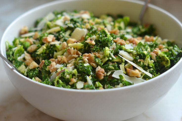 Kale & Brussels Sprout Salad with Walnuts, Parmesan & Lemon-Mustard Dressing http://www.onceuponachef.com/2015/03/shaved-brussels-sprouts-salad-parmesan-walnuts-lemon-mustard-dressing.html