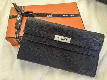 ca055f56e4f Hermes Kelly Wallet Epsom Black with Palladium Hardware  3