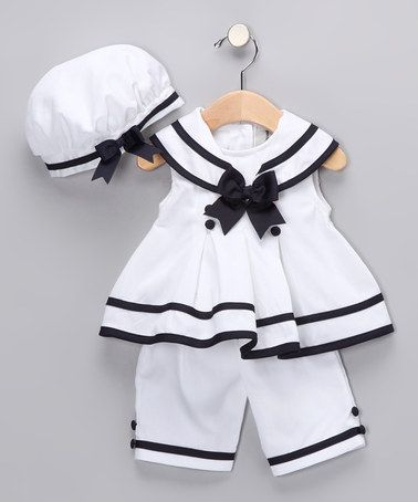 Take a look at this White & Navy Nautical Capri Set - Infant by Rare Editions on #zulily today!