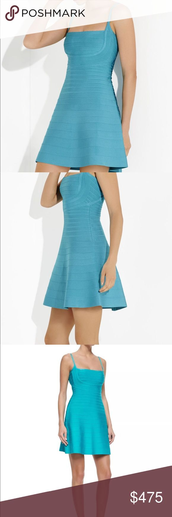 NWT Authentic Herve Leger Dress, Turquoise, Small New With Tags HERVE LEGER -  Novia - Fit and Flare Bandage Dress  Size:  Small - 6 Square neckline Sleeveless Allover bandage construction Fitted through upper thigh Hits at mid-thigh Self: Rayon, Nylon, Spandex bandage Dry Clean Only  You'll be fitted to fete-ready perfection in this pretty spin on the signature bandage dress.  Better fit for a bigger chest.   ‼️Price is firm ‼️ ❌No trades❌ Herve Leger Dresses Mini