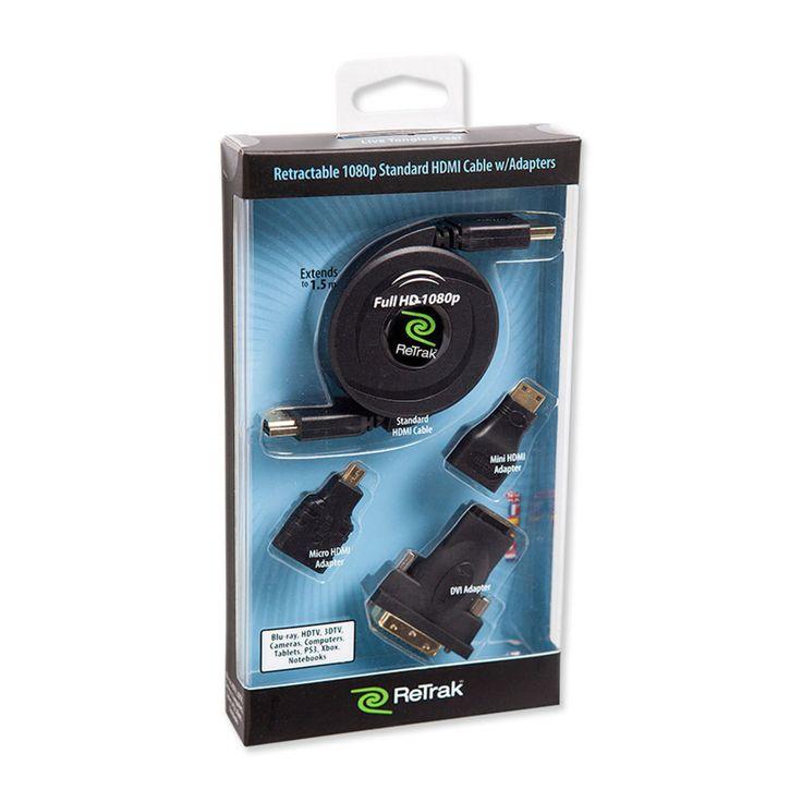[CATALOGUE MOBILITE MAI 2014] Câble HDMI 1080p 1.4 multifonctions. Un seul câble HDMI pour connecter tous vos appareils sur grand écran en HD. HDMI rétractable A vers A, C, D avec les adaptateurs fournis. Réf. EUCABLEHDM http://www.exertisbanquemagnetique.fr/info-marque/ReTrakt #Retrak #Accessoire