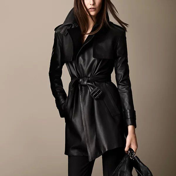 Women's Sweet Black Turn-down Collar Solid PU Coat Rs.3899 Only 10 % discount  Free delivery