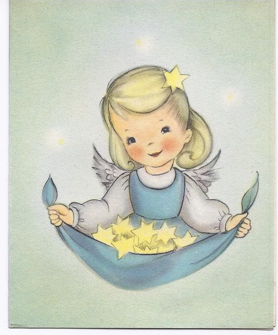 Little angel girl with a scarf full of stars - greeting card.