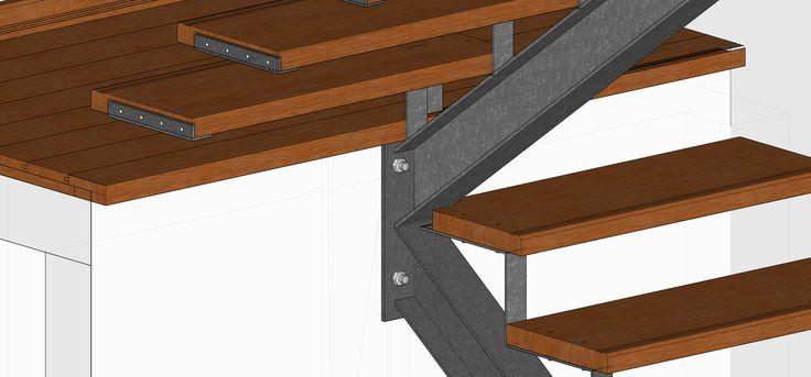 Detalle escalera metal y escalones en madera realizado en sketchup ...