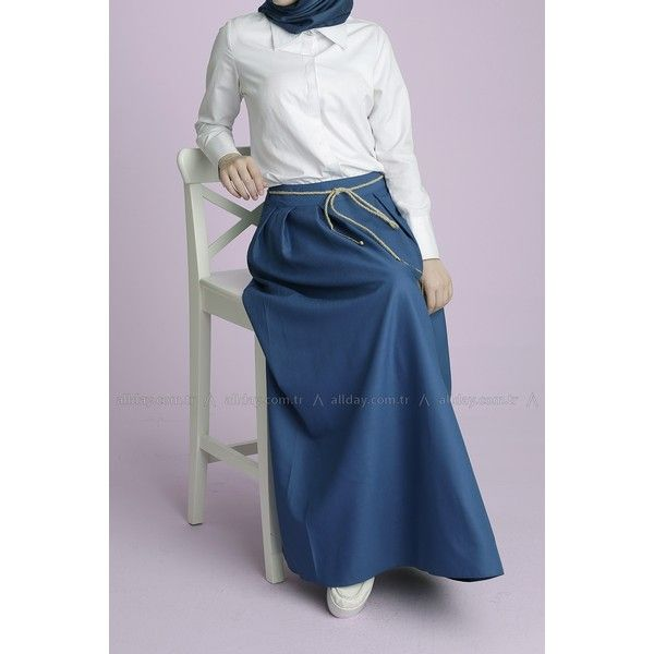 Formal hijab style, Turkish fashion, white shirt with blue skirt