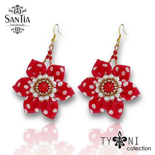 San-Tia / Náušnice s kvetmi (Bodkované-červeno-zlaté)