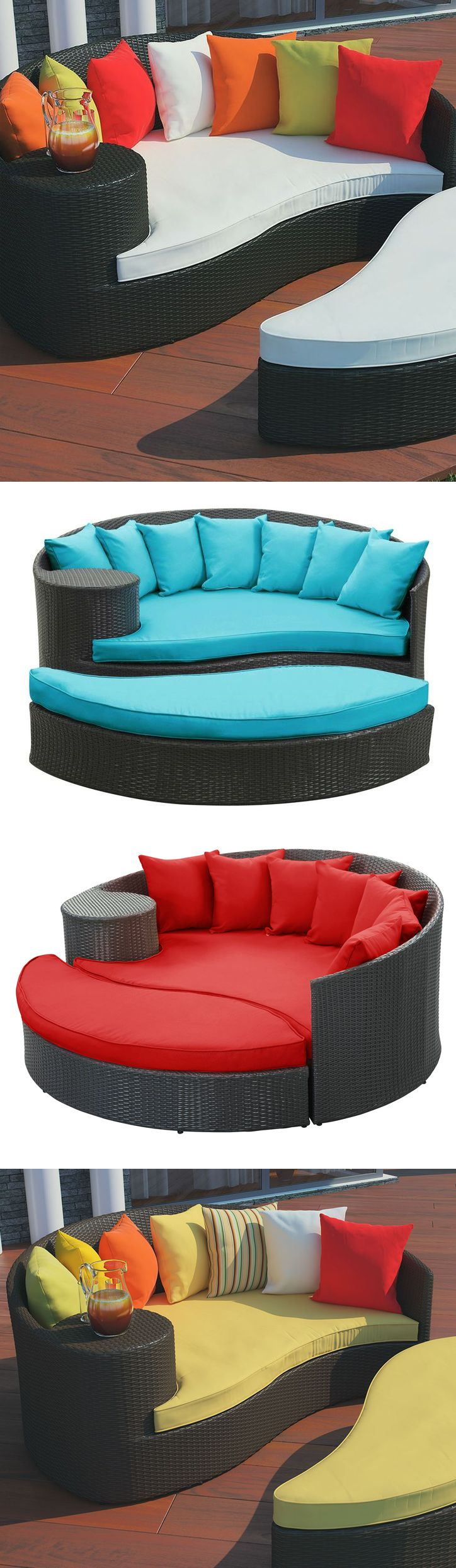 Outdoor wicker patio daybed with ottoman #furniture_design