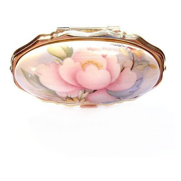 Vintage Lipstick Holder Mirror Compact, Ceramic Porcelain Top Flower ❤ liked on Polyvore featuring beauty products, beauty accessories and filler