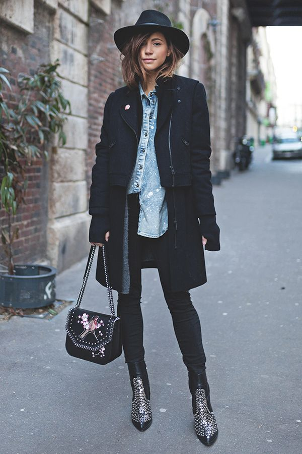 Studded ankle boots, Gucci bag, chambray shirt, layers, fingerless gloves, Edgy outfit, personal style, french style