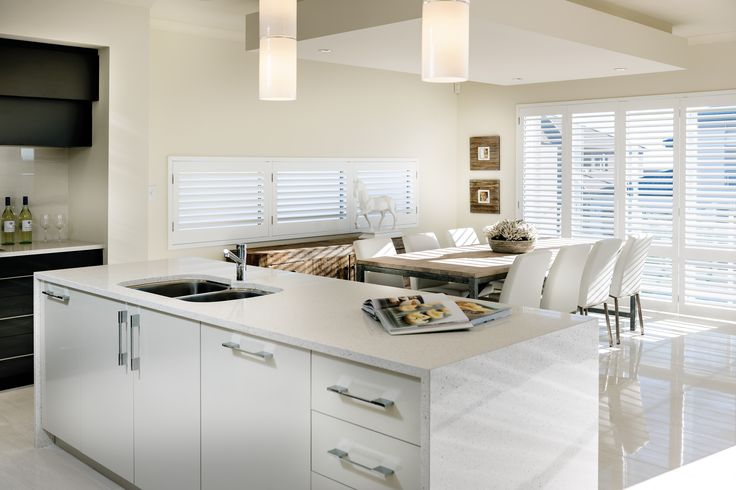 panorama island bench and dining room with a view | APG Homes