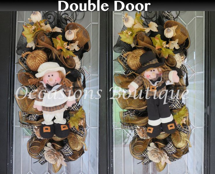 Double Door Wreaths, Fall Door Swags, Double Door Swags, Front door wreaths, Wreath for Door, Autumn Wreaths by OccasionsBoutique on Etsy