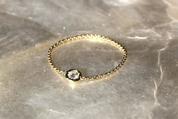 PRECIOUS! in love!  Diamond chain ring Solitaire diamond chain ring by bellallure