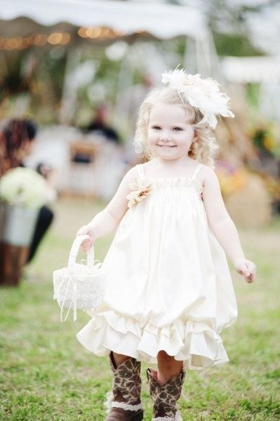 Adorable flower girl in cowboy boots at a #Southern wedding! via @Karen Jacot Darling Me Prett