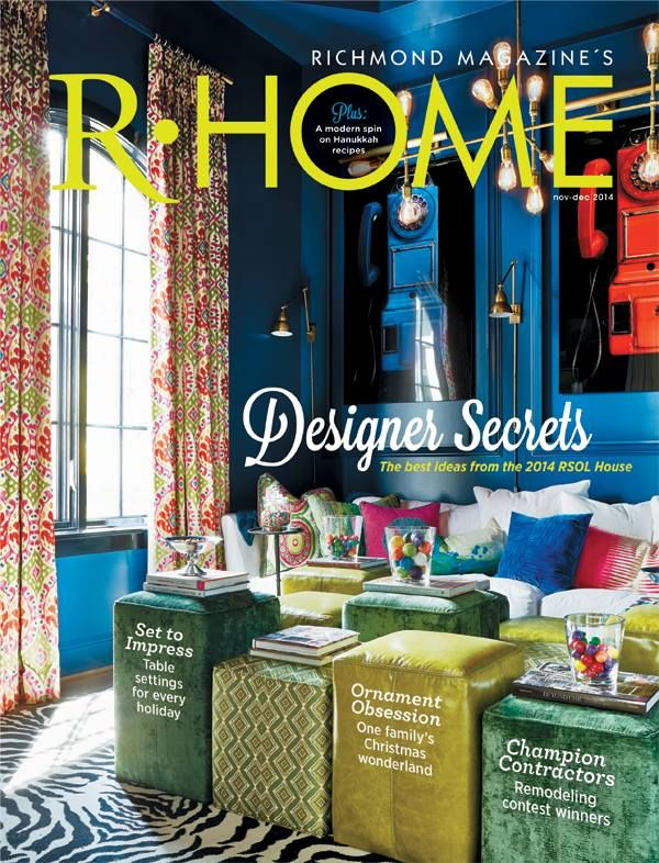 "Guess what is on the cover of the November/December '14 issue of R•Home Magazine? The Williams & Sherrill study designed by Patti Ryan, Kevin Malone, and Jamie Coffey in the 2014 Richmond Symphony Designer House, ""Hampton Manor"" built by Bel Arbor Builders! Many thanks to Richmond magazine and R-Home for supporting the 2014 Richmond Symphony Designer House! cover photo by V. Lee Hawkins"