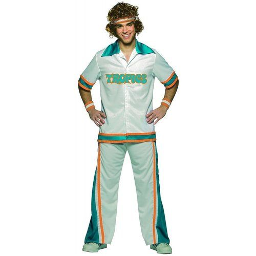 Hit the court with the Flint Tropics and Jackie Moon as the ultimate sixth man when you wear this officially-licensed Will Ferrell Flint Tropics Warm Up Suit Adult Costume. Warm up with the team and get the wisdom of the great Flint basketball player Jackie Moon when you show up at your next Halloween party dressed as one of the bench for the beloved Flint Tropics Will Ferrell basketball team.