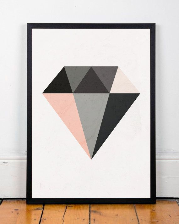 Diamant print minimalistische kunst van ShopTempsModernes op Etsy