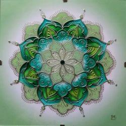 """Mandala Hand Glass drawing Mandala """"Vůně horských luk"""""""