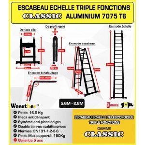 ECHELLE ESCABEAU TRIPLE FONCTIONS WOERTHER, MODELE CLASSIC 5.6M/2.8M - PACK BASIQUE