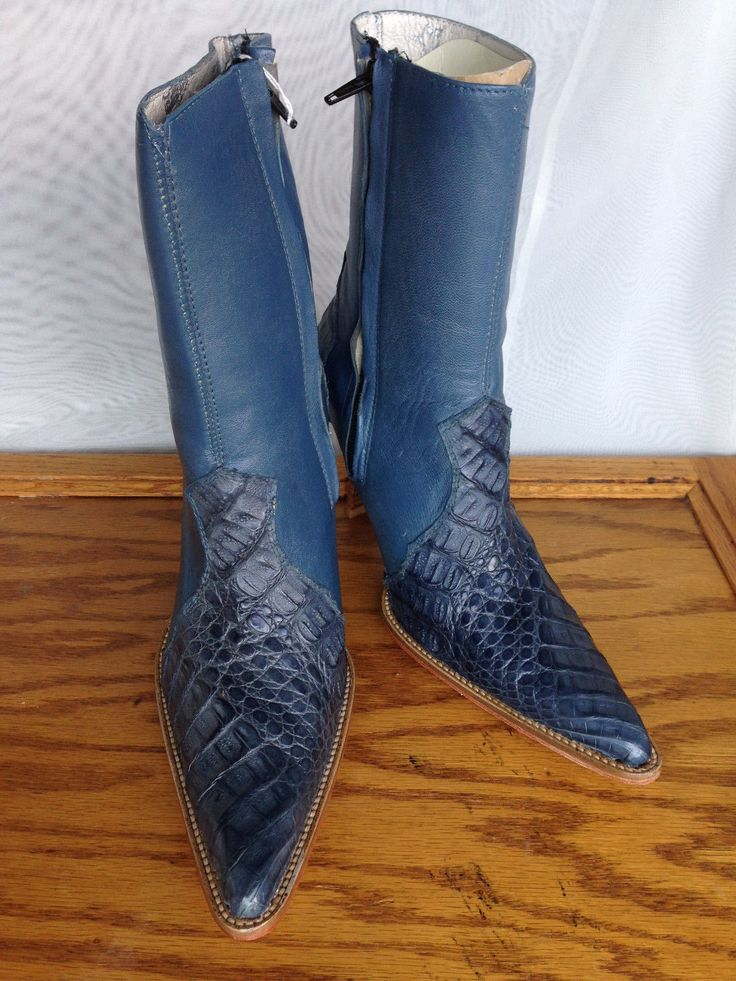 Womens Los Altos Jean Blue Ostrich Leather Ankle Zipper Boots with Stiletto Heel - 7M