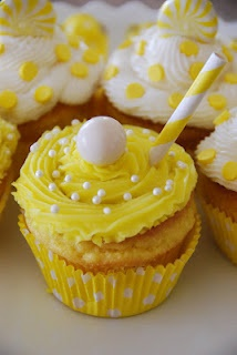 cute yellow polka dot cupcakes in the background (pinned for the pic mainly)