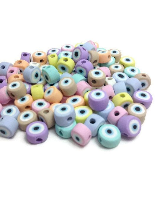 Evil Eye Beads, Handmade Beads, Jewelry Beads, Baptism Beads, Clay Beads, Jewelry Making Supplies, The Evil Eye, Pack of 30 and/or 50
