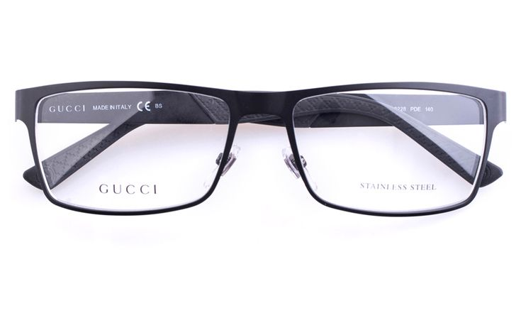 Gucci GG2228 Stainless steel Mens Square Full Rim Optical Glasses for Fashion,Party Bifocals (Black)