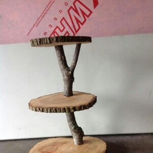 DIY cupcake stand wood cookies & branches