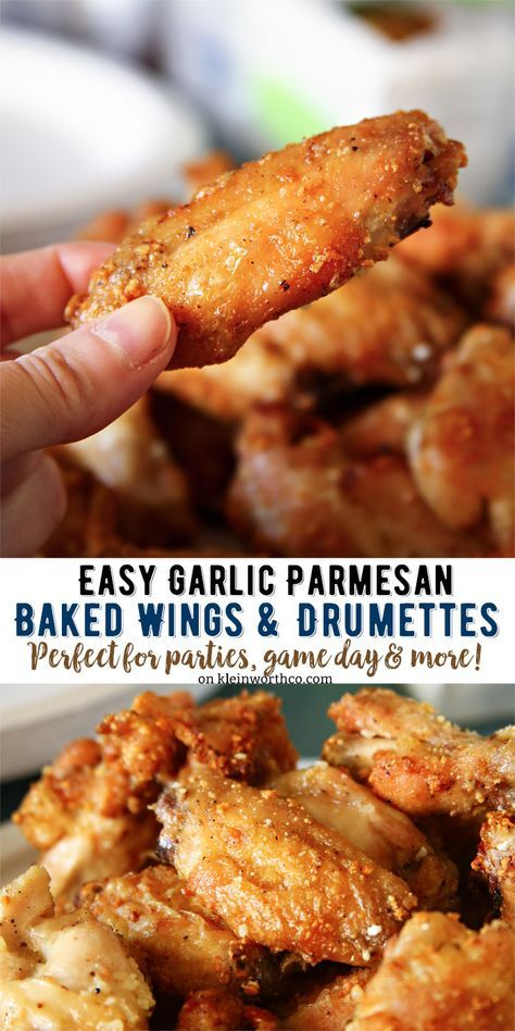 Garlic Parmesan Wings & Drumettes - super easy because they are baked, not fried. Perfect for pre-holiday snacking or game day munching! : kleinworth #mychinet #AD