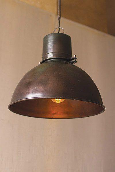 Metal Hanging Pendant Lamp With Green Patina