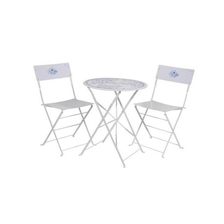 Komplet składający się z metalowego okrągłego stołu oraz dwóch krzeseł, cały zestaw jest ozdobiony delikatnymi błękitnymi wzorkami w kształcie kwiatów - Sklep OnaiDom.pl