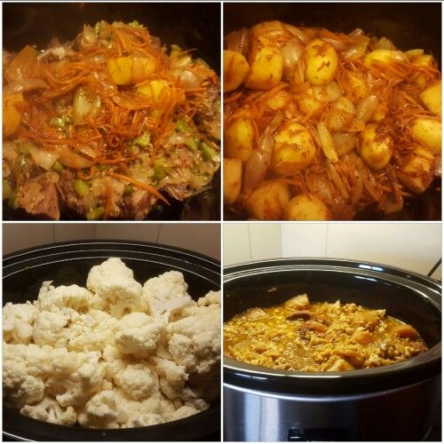 My first attempt of Cauliflower Bredie in the slow cooker.  What a winner. 4 stages. ...before...during....& after.