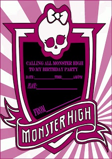 Monster High Party Invitation Card | Learn To Coloring
