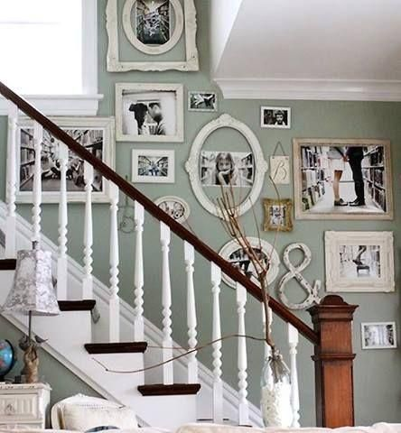 Beautiful photo wall along the staircase