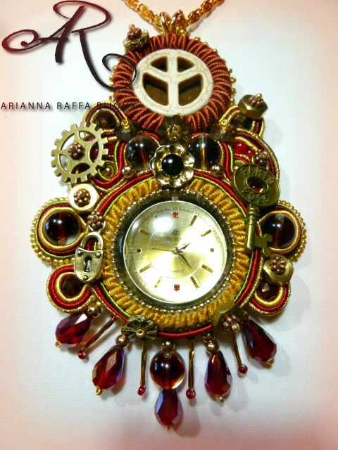 "Ciondolo soutache Steampunk ""Finest Hour"""