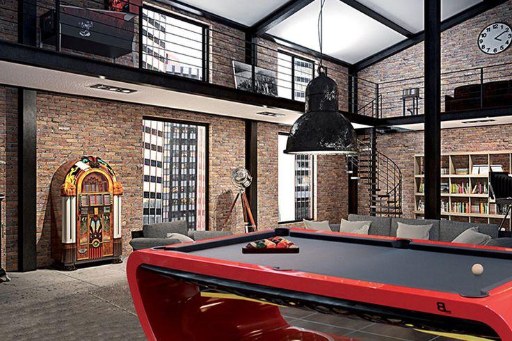 Le billard Blacklight est LE billard signature des Billards Toulet ! Entièrement personnalisable, il s'adapte à tous les styles de déco d'intérieur ! Ici en rouge, noir et jaune, il a une place centrale dans ce loft industriel ! #billard #billards #toulet #déco #loft #decoration #pool #Blacklight