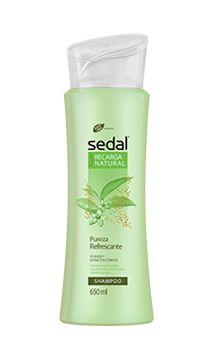 NUEVO Sedal Recarga Natural. En la foto, el shampoo Pureza Refrescante para pelo graso. #MiRecargaNatural