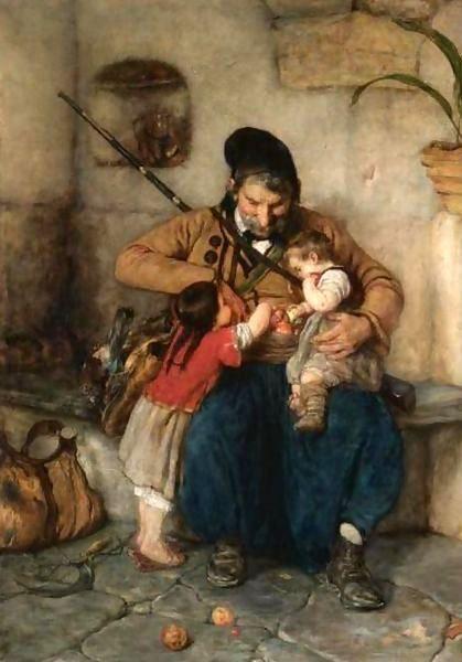 Grandfather Offering Apples To His Grandchildren, Nikolaos Gyzis