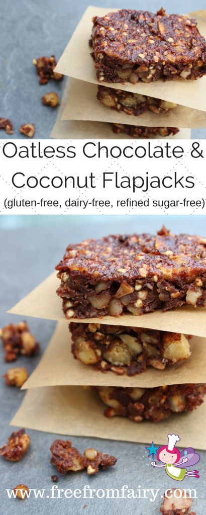 Oatless Chocolate & Coconut Flapjacks (gluten-free, fairy-free, egg-free, soya-free, refined sugar-free)