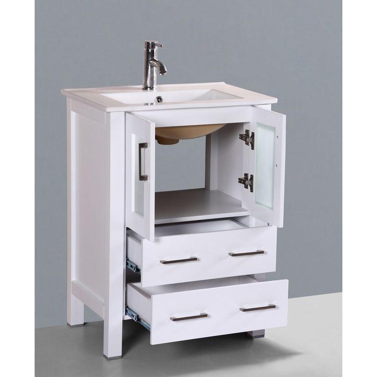 Bosconi AB124U 24-inch Single Black Vanity | Overstock.com Shopping - The Best Deals on Bathroom Vanities