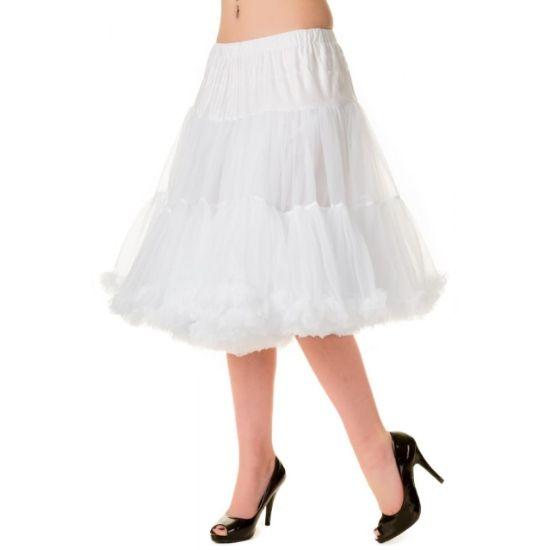 Banned White Spodnička k šatům Spodnička ve stylu 50. let. Krásná tylová spodnička k šatům s kolovou sukní, dokonale pozvedne výraz šatů, bohatý objem, 2 bohaté vrstvy a spodní sukně, 100% polyester, bílá barva, délka cca 66 cm.