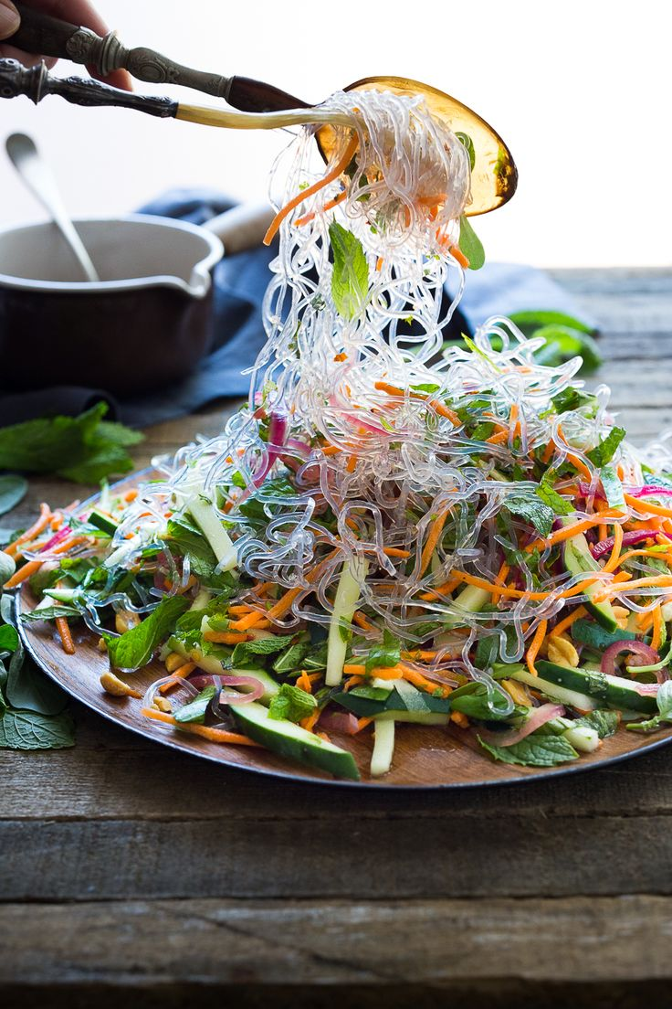 An incredible recipe for Vietnamese Vermicelli Salad w/ Sweet Chili Vinaigrette & Roasted peanuts - bursting with flavor and healthy and…
