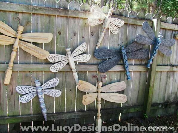 Fan blade and table leg dragonfly wall art yard art repurposed fairy garden