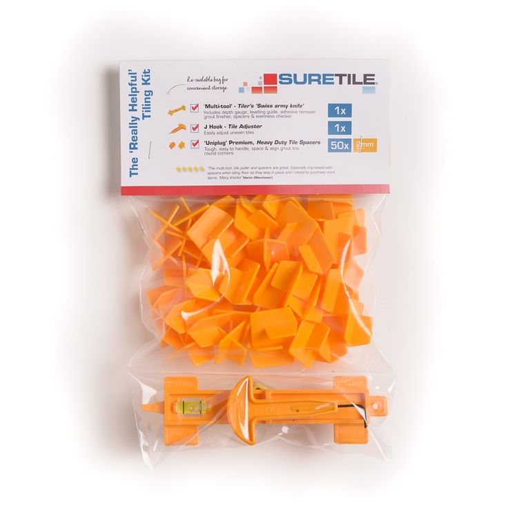 """The 'Really Helpful' tiling kit is not like other tiling kits because it gives you the tools to do a better job and to help you avoid making all the usual mistakes. Including our unique 'Uniplug' tile spacers to hold your tiling better, The multifuntional Multi-tool to help you avoid mistakes etc and the J-HOOK to correct uneven tiles. 1 x MULTI-TOOL The tiler's """"Swiss Army knife""""! The unique and innovative new Multi-Tool from Suretile is the ultimate multifunction tiling tool designed to…"""