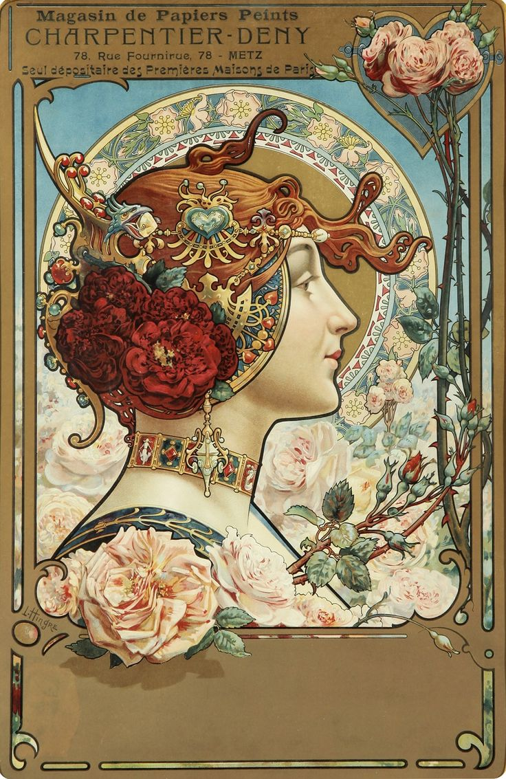 """by Louis Théophile Hingre ~ Born November 19, 1932 predating Mucha by 28yrs who was born July 24, 1860. Most of his work was done while Mucha was still an infant which makes him the true father of Art Nouveau (even though Mucha popularized it). ~ Click through the large version for a full-screen view on a black background (set your computer for full-screen) ~ M.S.M. Gish ~ Miks' Pics """"Alphonse Mucha"""" board @ http://www.pinterest.com/msmgish/alphonse-mucha/"""