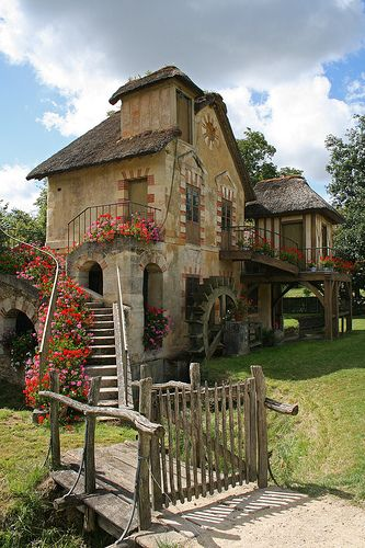 ♥Just outside Paris, built as a rustic retreat for Marie Antoinette on the grounds of the Palace of Versailles. They are among 12 cottages at her Hameau de la Reine (1785 and 1792)