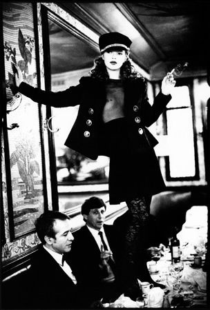 Kate Moss at Cafe Lipp, Paris, VOGUE Italia  Arthur Elgort   1993