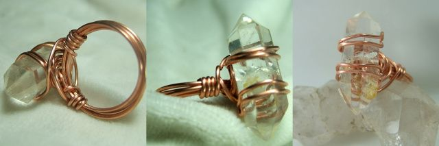 How to wire wrap a quartz crystal, a long stone or a long cabochon into a simple ring - free tutorial bfrom Magpie Gemstones.